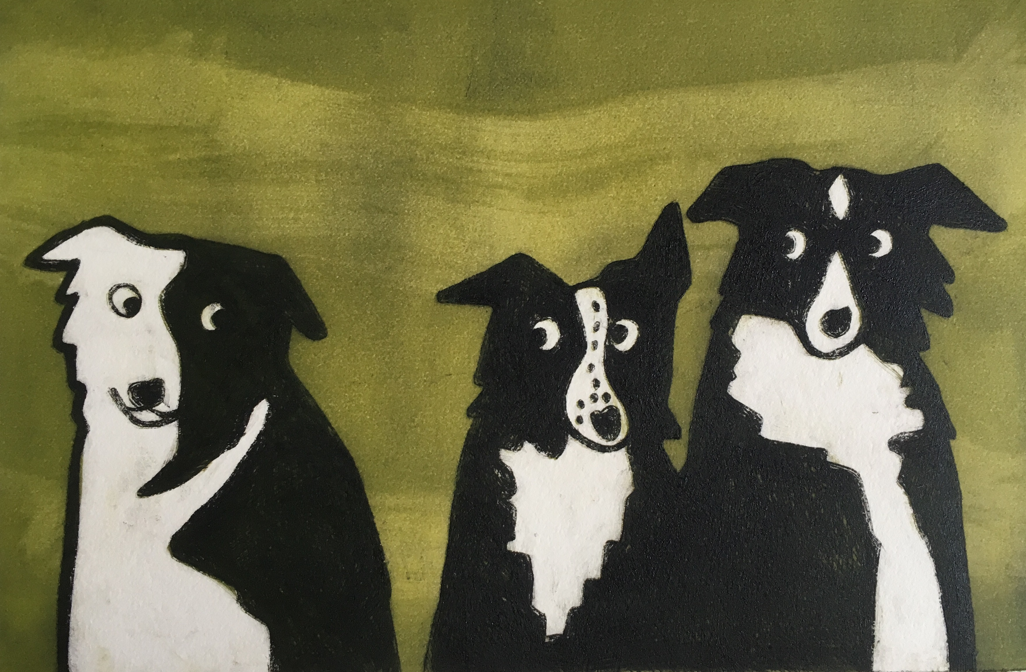 Limited edition monoprint Yorkshire Collie Dogs